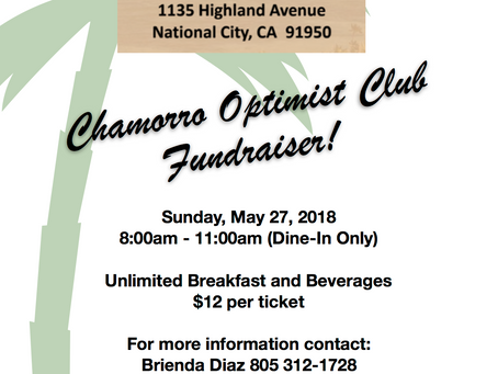 Join the Chamorro Optimist Club's buffet breakfast fundraiser on Sunday, May 27, 8-11am!