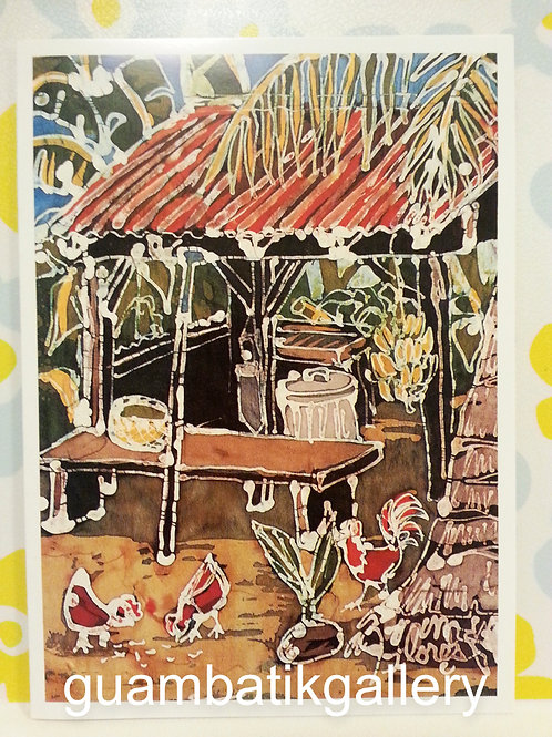 Print: Batik Ranch Scene 5X7 Blank Card