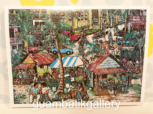 Print: Batik Inarajan Fiesta 5X7 Blank Card
