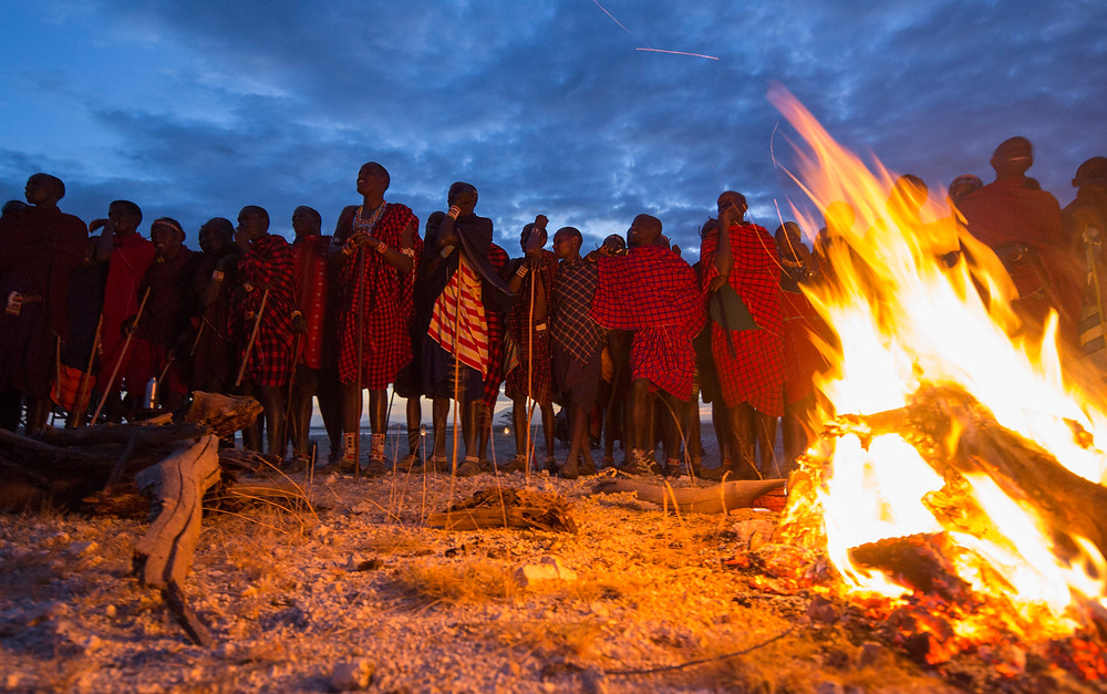 Some Maasai warrior around the fire :))