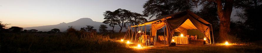 camping, tent, Mount Kilimanjaro, safari, adventure, Kenya, dining tent, twilight, bush, savanah, www.davesimpsonsafaris.com