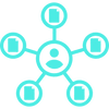 Person accountable for currency overlay management icon icon