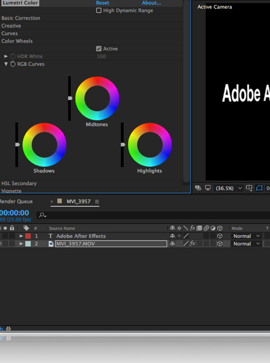 Adobe After Effects Colour Grading training, Lumetri Color