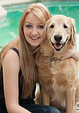 beautiful girl with golden retreiver