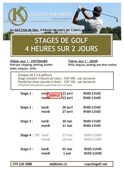 Stages golf Sion Olivier Knupfer  printe
