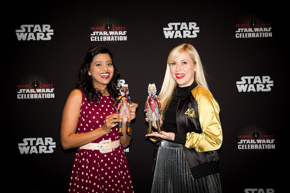 Tiya Sircar and Ashley Eckstein celebrate their characters from Star Wars: Forces of Destiny at Star Wars Celebration