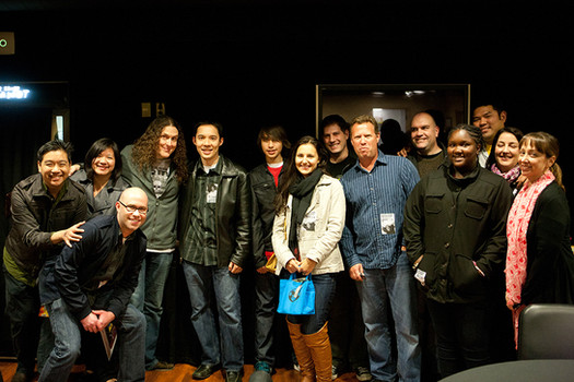Ghostbot crew backstage with Weird Al