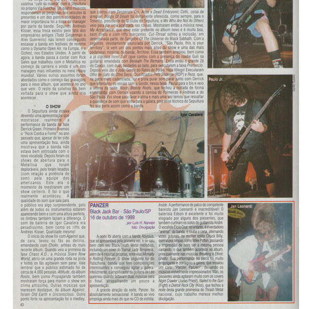 Rock Brigade Mag.- Review from release concert from Panzer´s first album- 1999