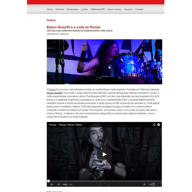 O Baterista Website- News about Panzer´s return -2012