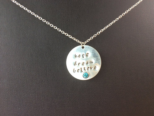 Hope Dream Believe Engraved Necklace