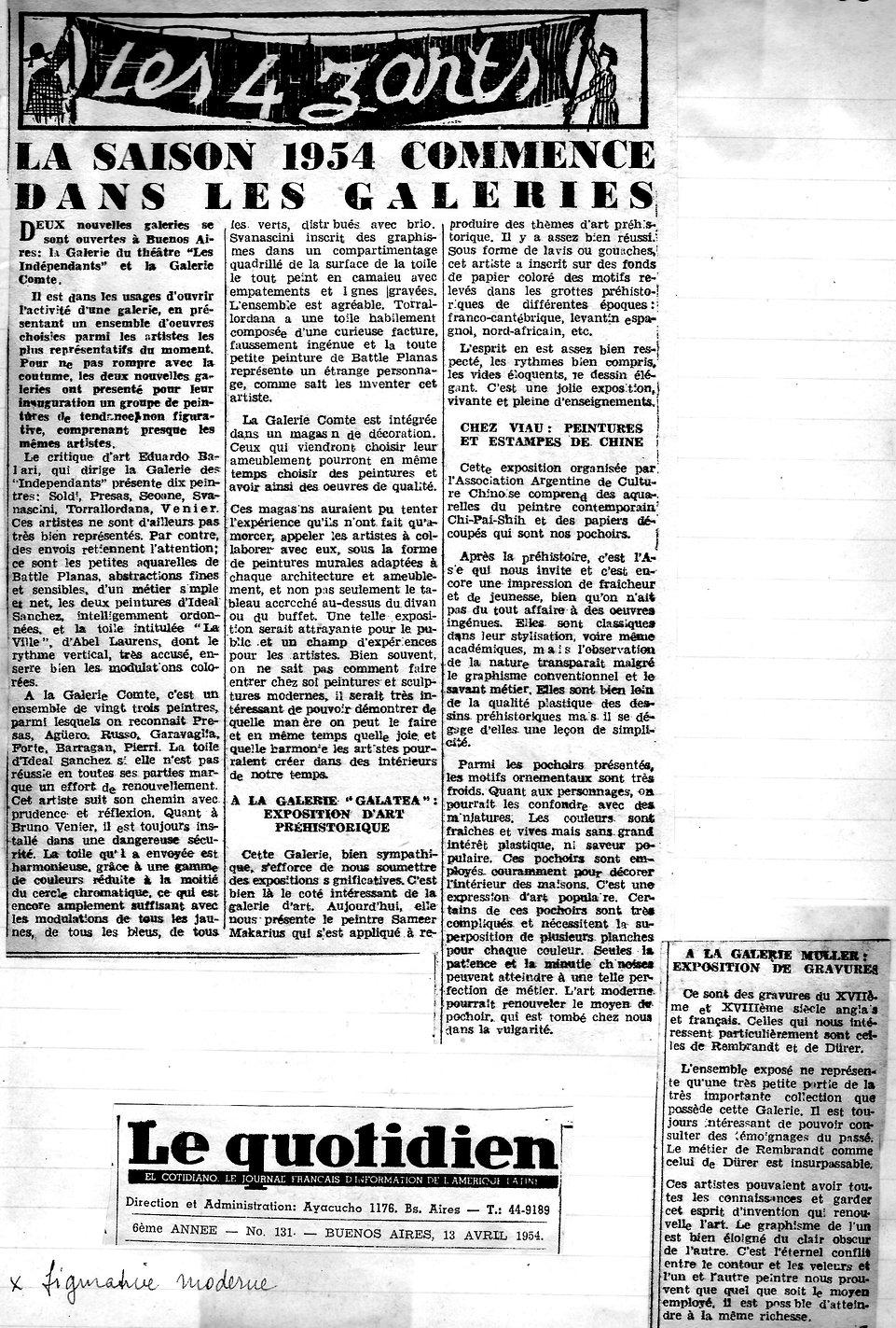 La siason 1954 commence dans les galerie