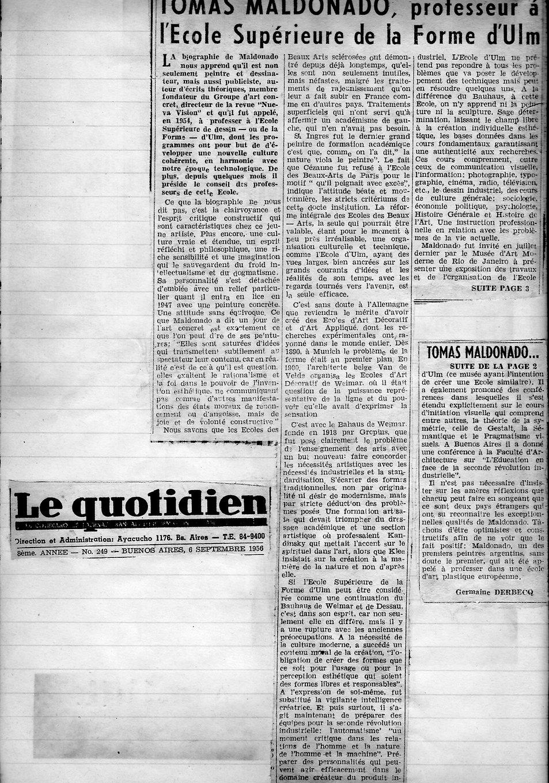 Le Quotidien - Tomas Maldonado professeu