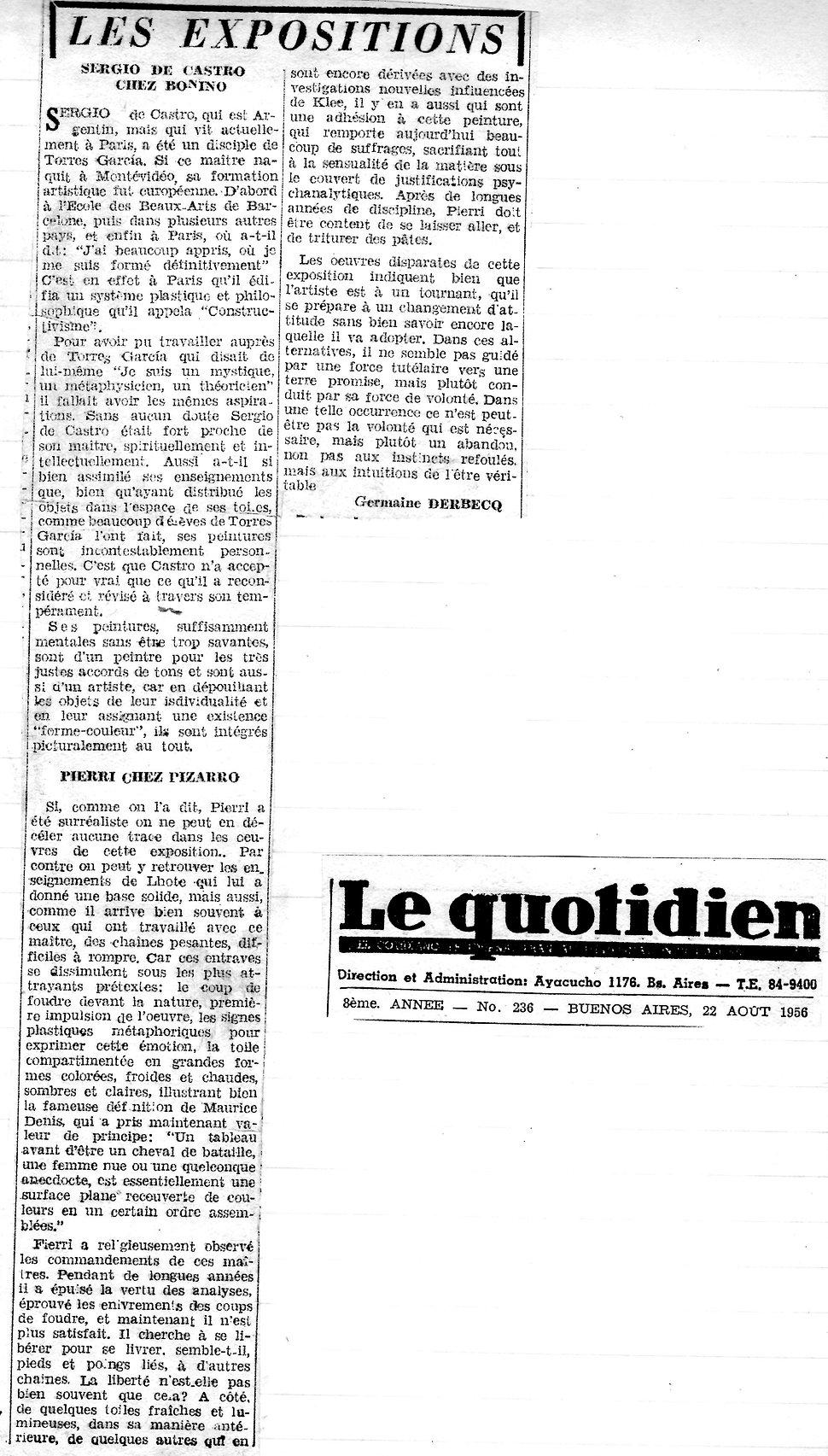 Le Quotidien  - Sergio de Castro Chez Bo