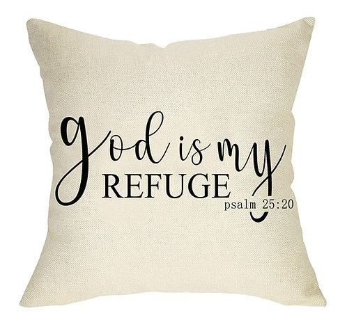 God is My Refuge Pillow