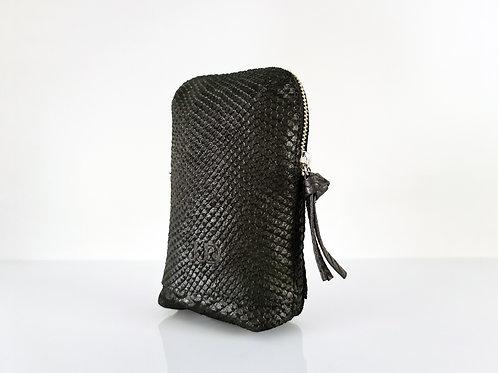 Black python Leather Belt Bag