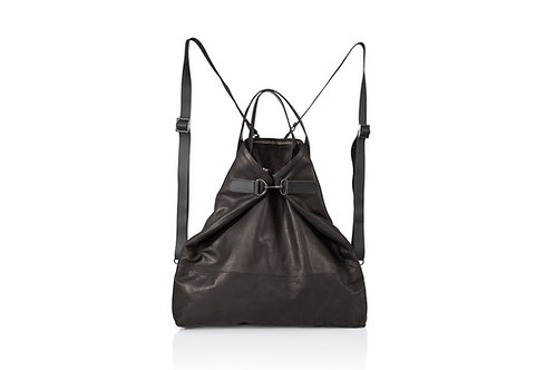 5 in 1 Black Leather Convertible backpack tote