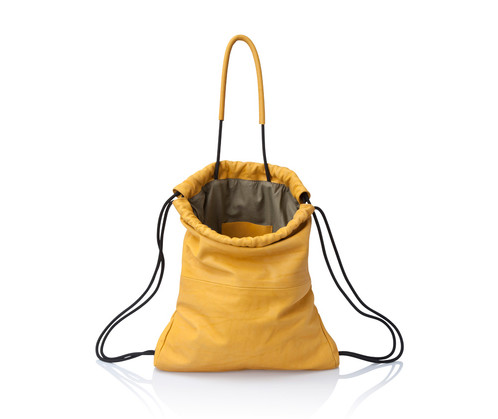 Mustard Yellow Leather Multiway Backpack Sack Bag