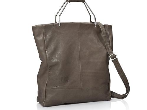 Olive Gray Leather Handbag & Shoulder Bag