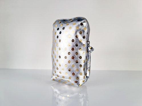 Metallic Silver Leather Belt Bag