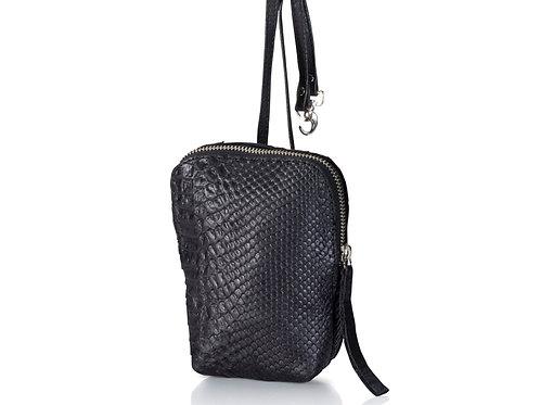 Black Python Leather Shoulder Purse