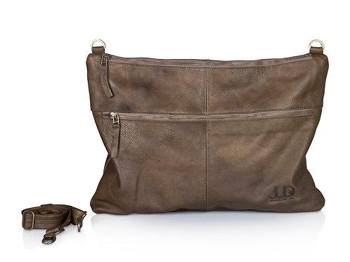 Olive Gray Leather Messenger Bag