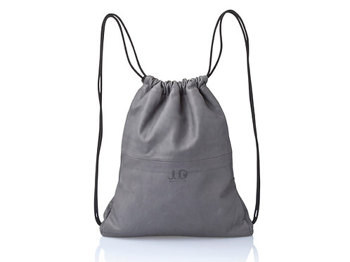 GRAY LEATHER MULTIWAY BACKPACK SACK BAG
