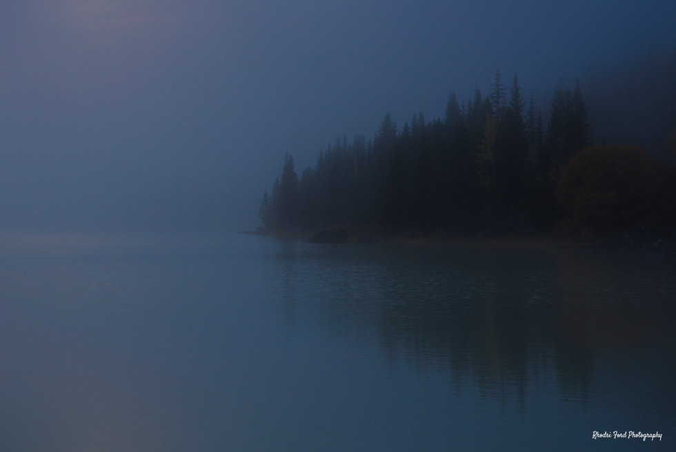 Misty Rockies Lake At Dawn