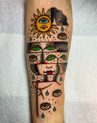 Cute colorful forearm tattoo in New Mexico