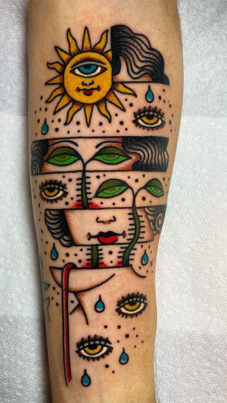 Eyes unique custom color tattoo