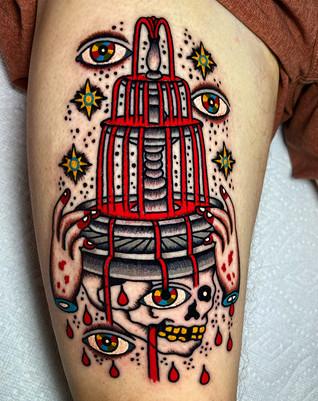 Unique Fountain design tattoo