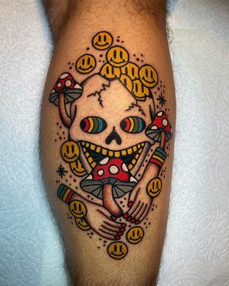 Skull and Mushroom Color Tattoo