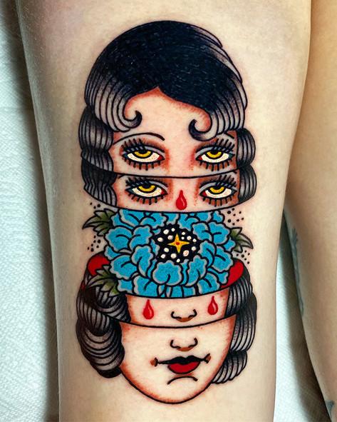 Unique Portrait tattoo with flower