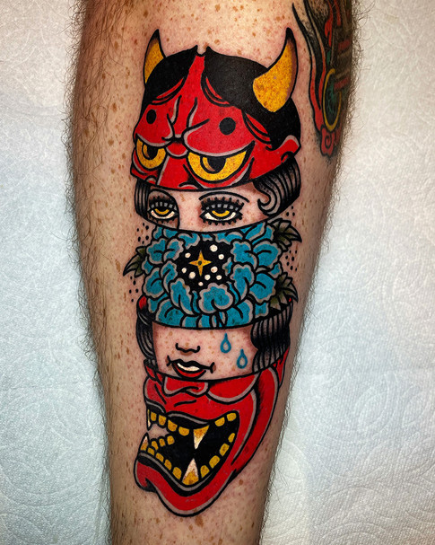 Demon and woman color tattoos