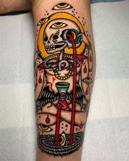Bold color and unique custom tattoo