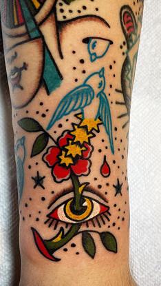 Bird Flower Eye Color Tattoo Albuquerque