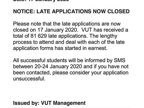 VUT closes late application period