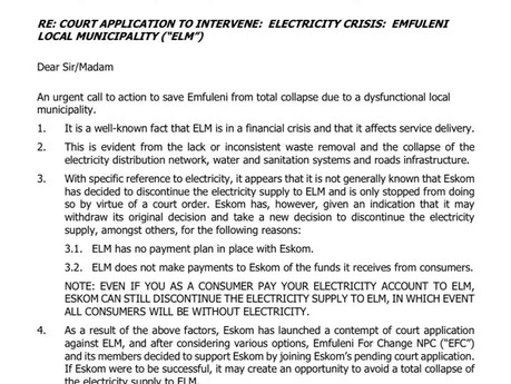 Emfuleni for Change joining court action to prevent shutdown of electricity supply to Emfuleni
