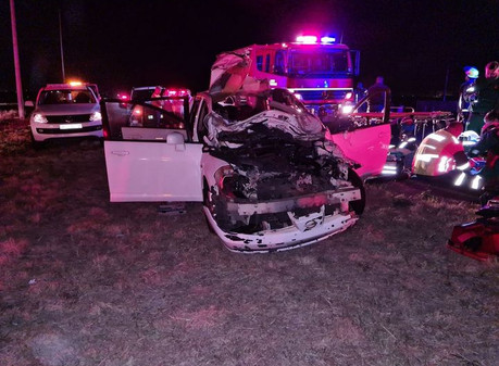 Woman airlifted after vehicle hits cow on the R42