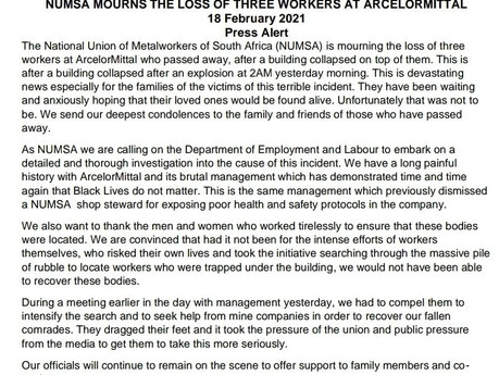 Three workers die after a building collapse at ArcelorMittal's plant in Vanderbijlpark