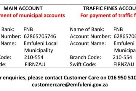 FF Plus in Emfuleni confirms new municipal banking details