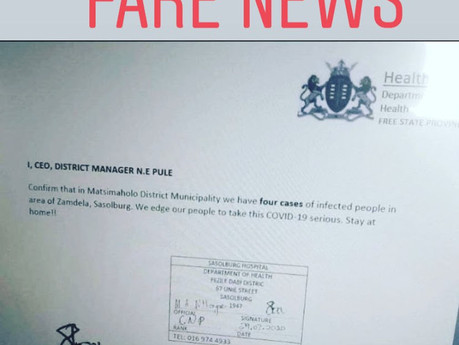 Health Department says letter claiming there are four Covid-19 cases in Sasolburg is fake news