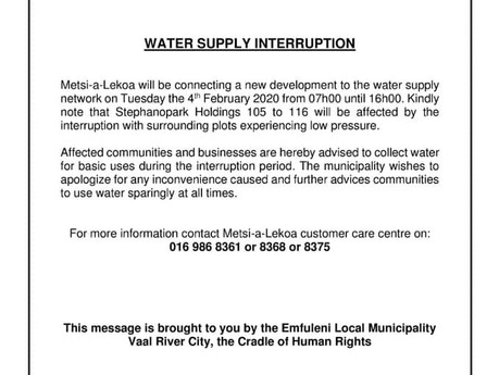 ELM issues notice of water interruption for Staphanopark
