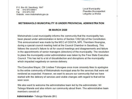 Metsimaholo Municipality placed under administration