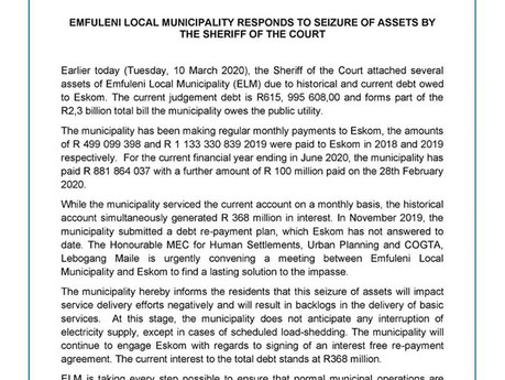 Emfuleni's response to the seizure of their assets yesterday: