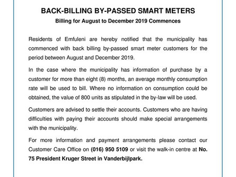 Emfuleni commencing with back billing of by-passed smart meters