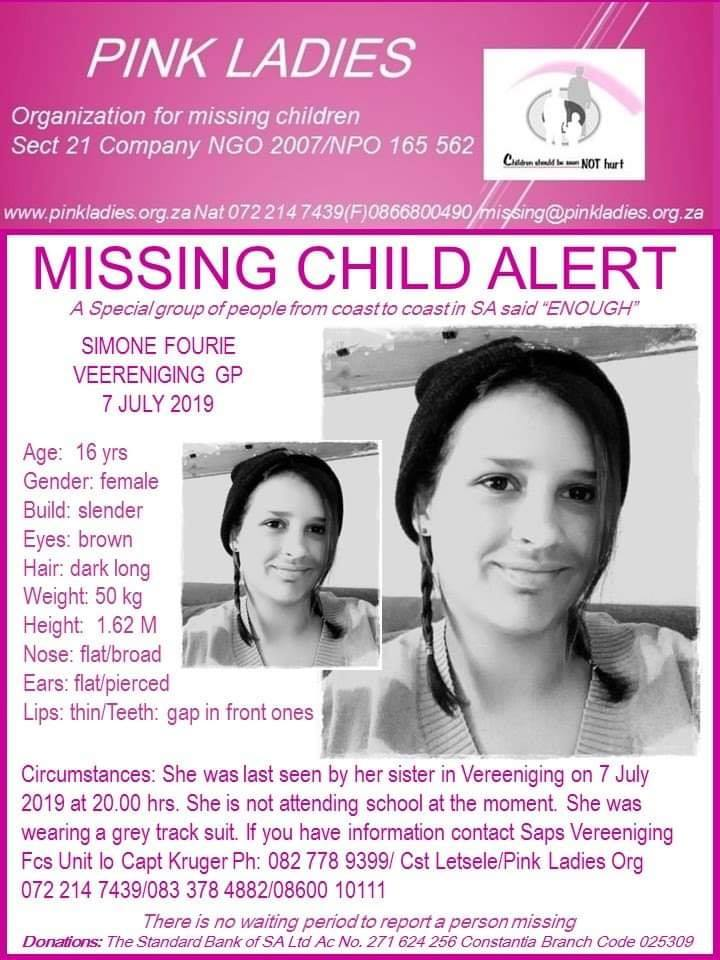 Pink Ladies Org searching for 16-year-old Vereeniging girl