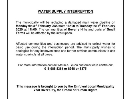 Water supply interruption scheduled for parts of the Vaal Triangle
