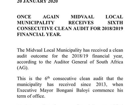 Midvaal Local Municipality receives a clean audit for 6th consecutive year