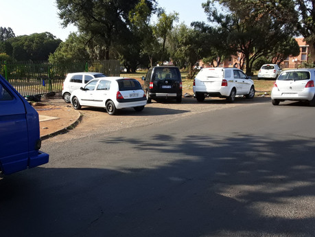 Parks and Cemetery employees block the entrance to Emfuleni Local Municipality