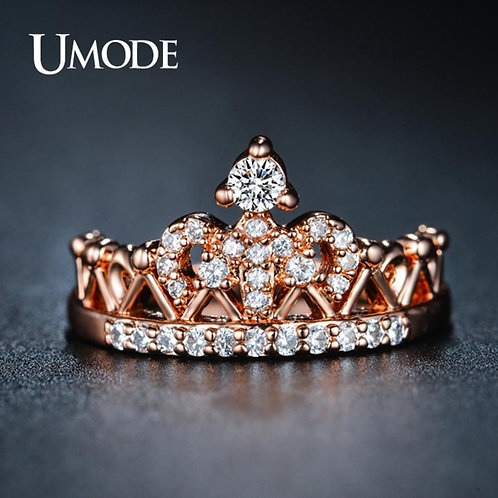 UMODE Crown Rings for Women Zircon Rose Gold Fashion Luxury